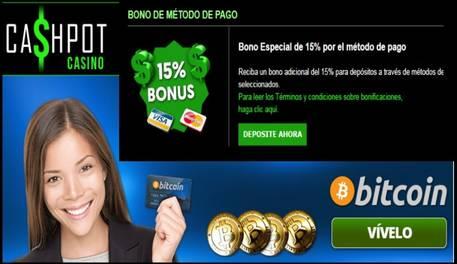 Bono promocional de 15% sobre método de ingreso