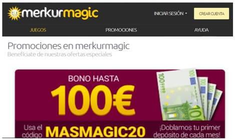 Hasta 100 euros promocionales entrega el Casino Merkurmagic