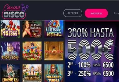 Obtenga ahora 300% en Casino Disco por primer depósito